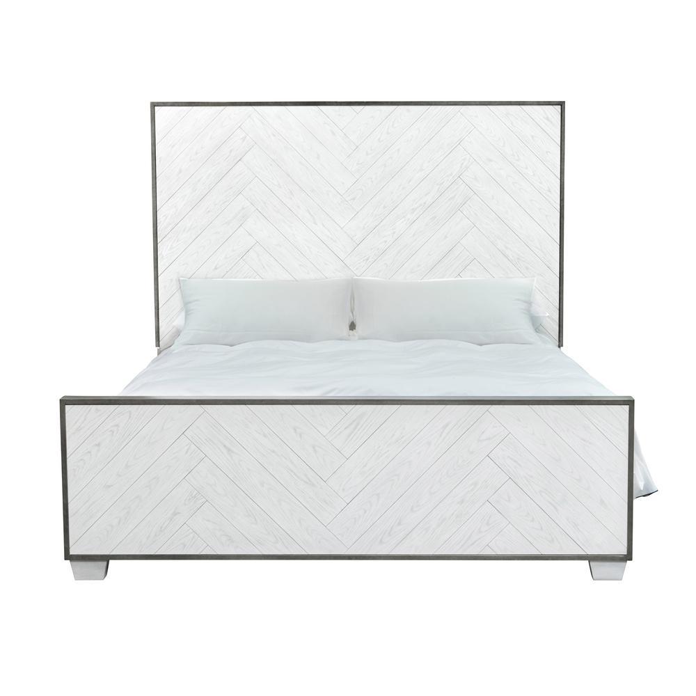 Modern Farmhouse Metal Frame White Wood King Bed