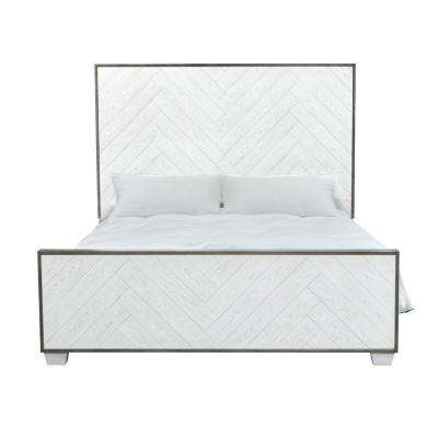 Modern Farmhouse Metal Frame White Wood Queen Bed
