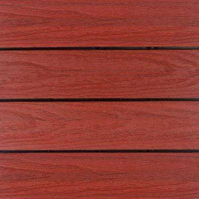 UltraShield Naturale 1 ft. x 1 ft. Quick Deck Outdoor Composite Deck Tile in Swedish Red (10 sq. ft. Per Box)