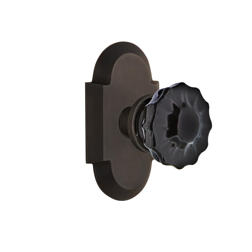 Cottage Plate 2-3/8 in. Backset Oil-Rubbed Bronze Passage Crystal Black Glass