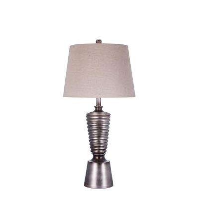 30.5 in. Antique Silver Resin Table Lamp