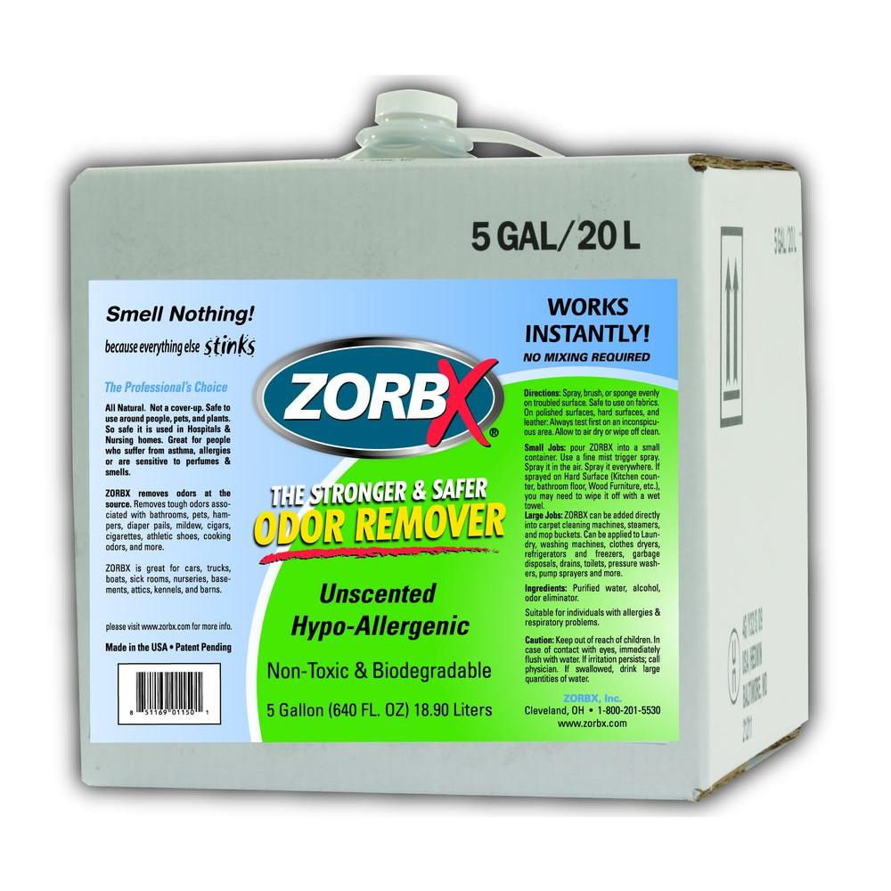 Zorbx 5 gal unscented odor remover 1150 the home depot for Unscented bathroom deodorizer