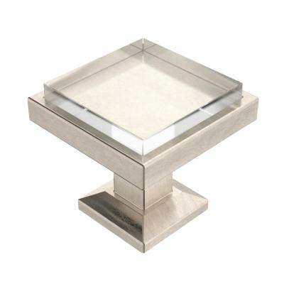 Classic Square 1-1/4 in. (32mm) Satin Nickel and Clear Glass Cabinet Knob