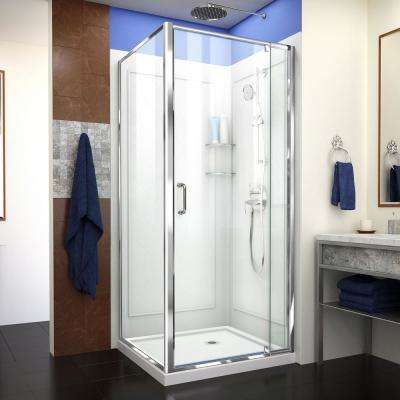 Flex 36 in. x 36 in. x 76.75 in. Framed Corner Pivot Shower Kit in Chrome with Shower Base and Backwalls in White