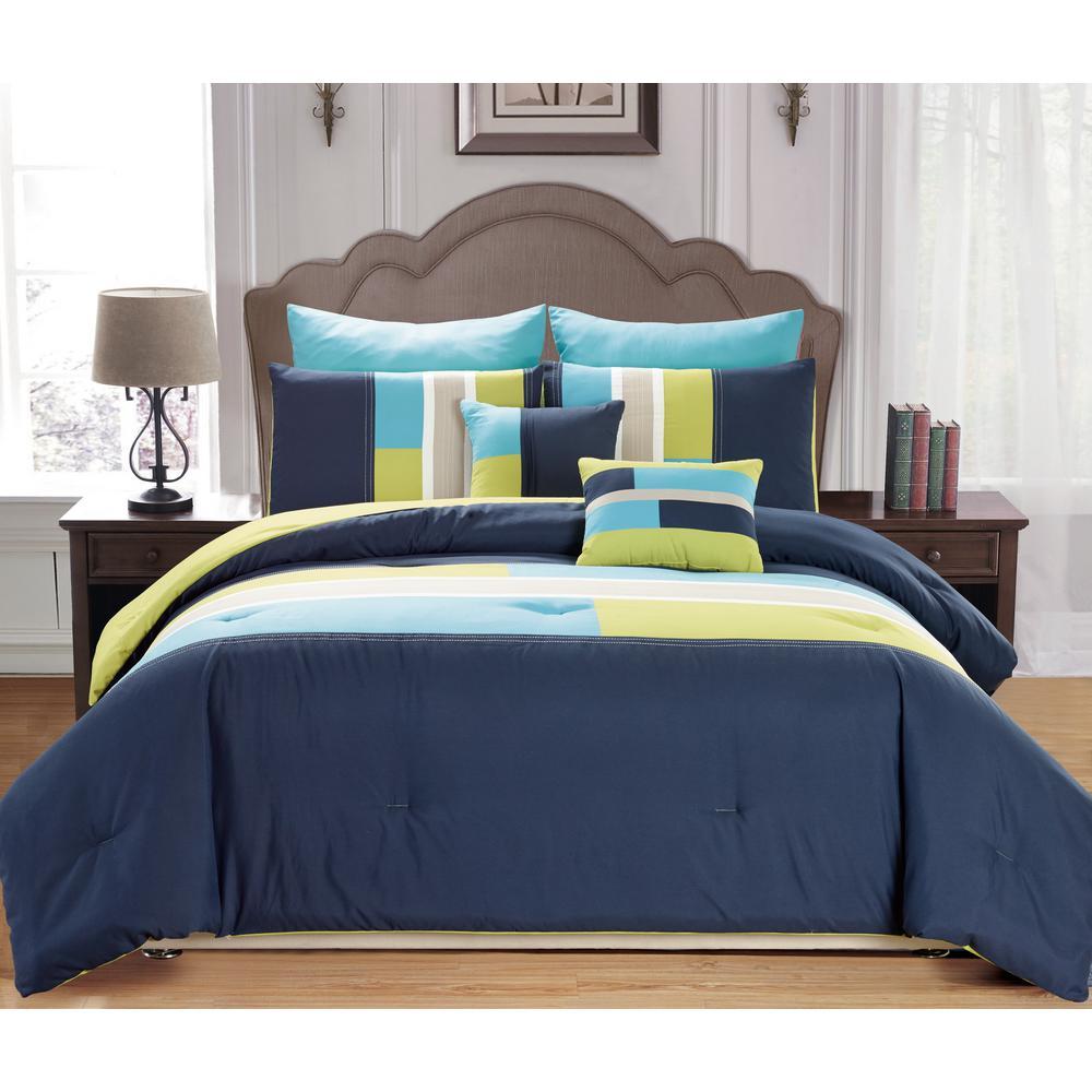 Desiree 7-Piece Blue Queen Comforter Set