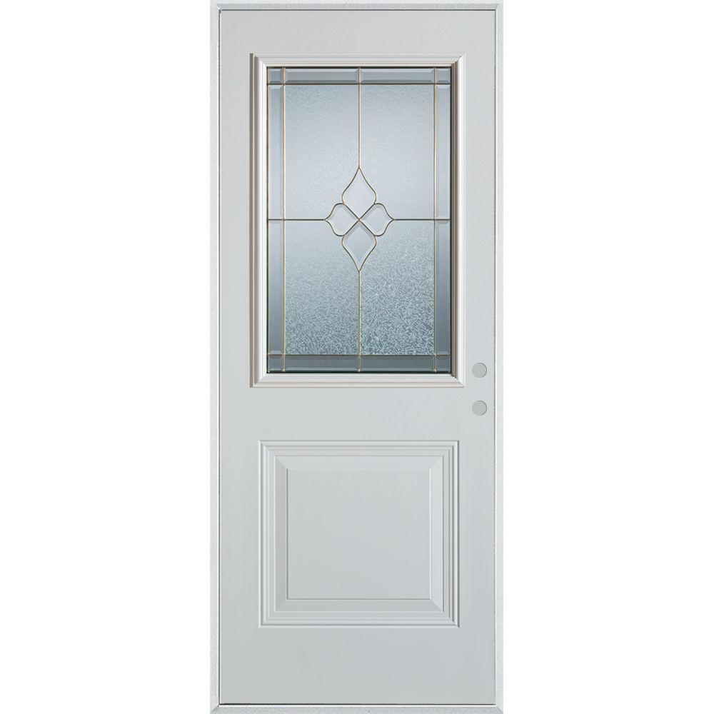 37.375 in. x 82.375 in. Geometric Brass 1/2 Lite 1-Panel Painted White Left-Hand Inswing Steel Prehung Front Door