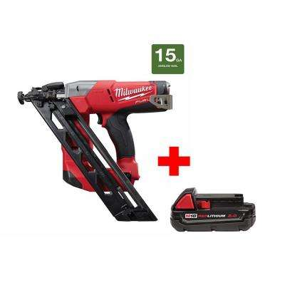 M18 FUEL 18-Volt Lithium-Ion Brushless 15-Gauge Cordless Angled Finish Nailer with One 2.0 Ah Battery