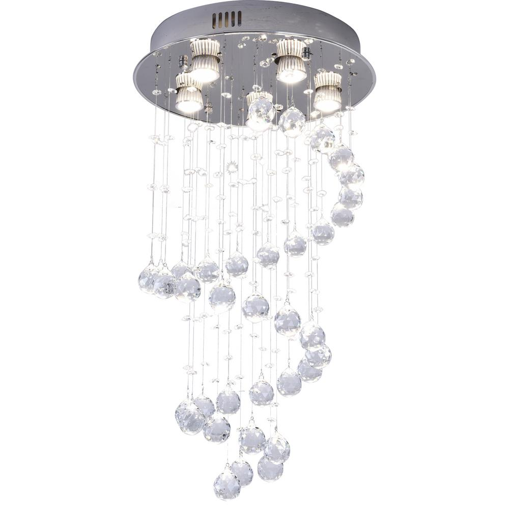 Sefinn Four 5 Light Unique Geometric Chandelier With K9 Crystals 6037 5 The Home Depot