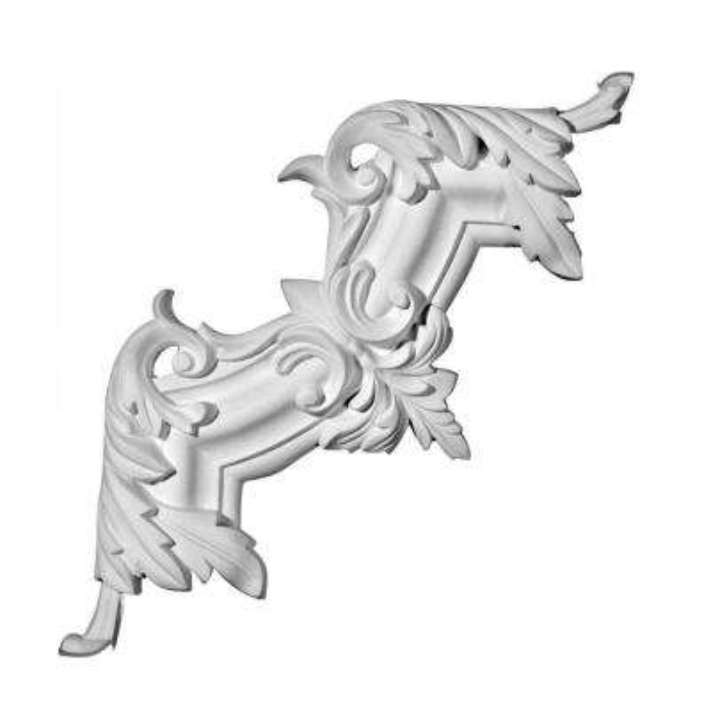 1 in. x 11-3/8 in. x 11-3/8 in. Leaf Polyurethane Panel Moulding Corner