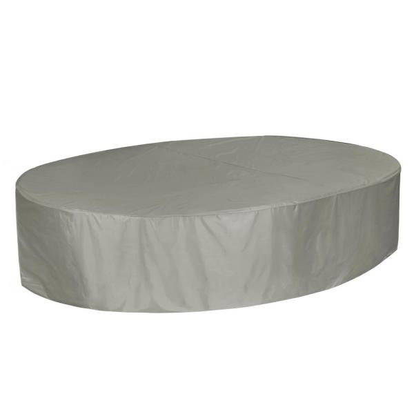 Bonanza 108 in. Grey Rectangle Table and Chair Cover