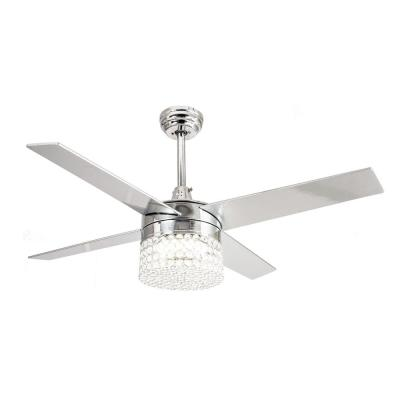 Marchand 48 in. Indoor Chrome Downrod Mount Crystal Chandelier Ceiling Fan With Light and Remote Control
