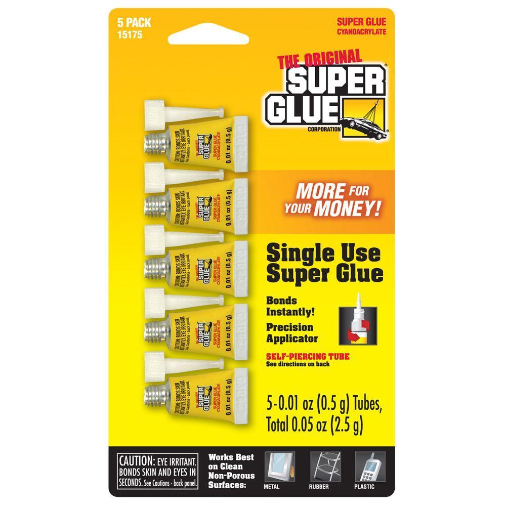 Super Glue 0.01 oz. Glue Single Use Minis, (5) 0.01 oz. Tubes per card (12-Pack)