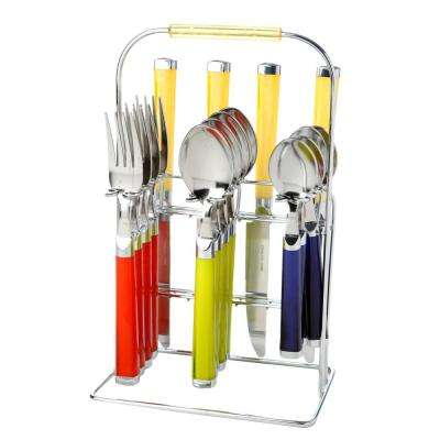 Temptation Partytime 16-Piece Plastic Handle Flatware Set with Rack