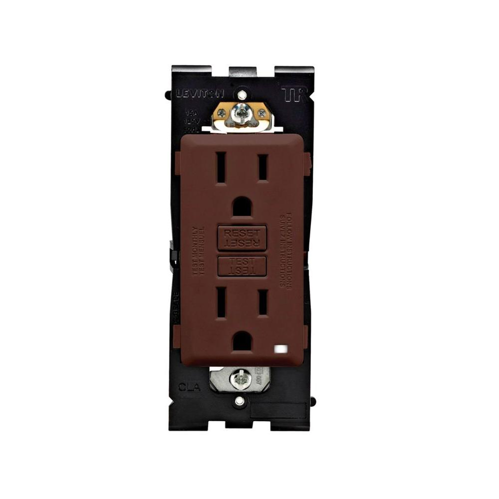 Leviton Renu 15 Amp Tamper Resistant GFCI Duplex Outlet, Walnut Bark