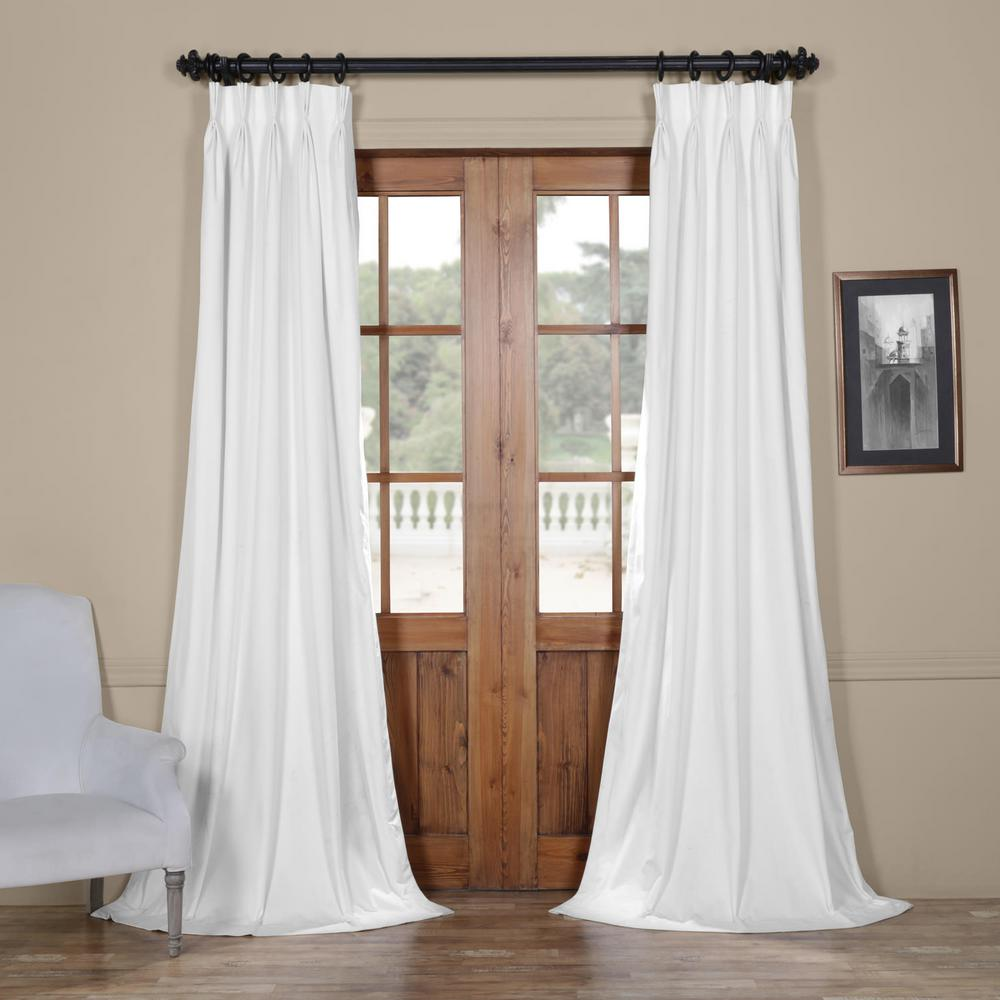 Exclusive Fabrics & Furnishings Blackout Signature Off White Pleated - 25 in. W x 120 in. L (1 Panel)