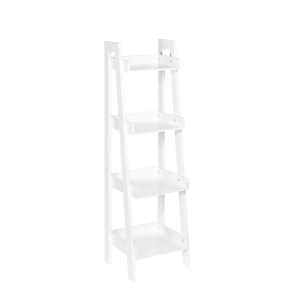 13 in. x 44 in. 4-Tier Ladder Shelf for Kids in White