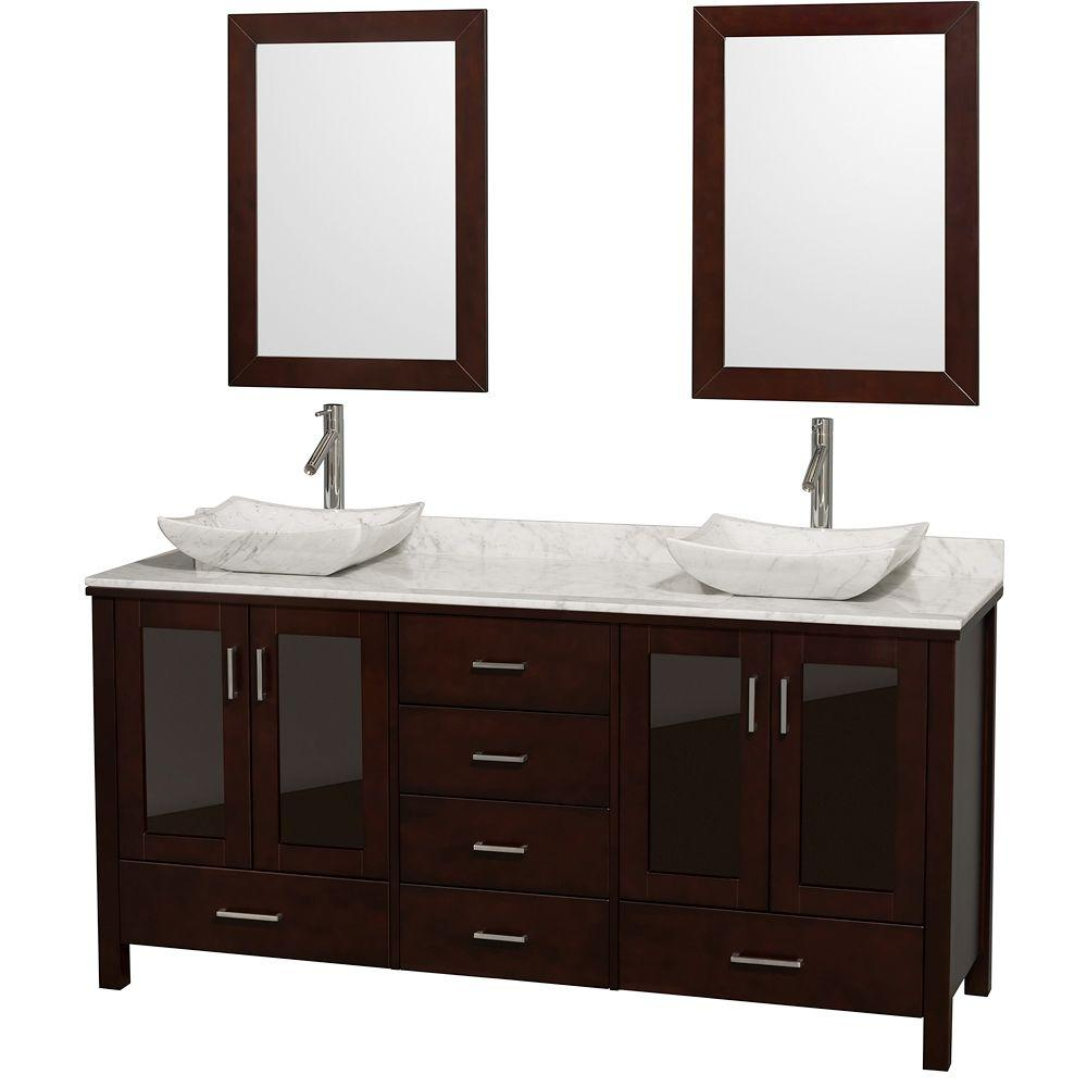 Wyndham Double Vanity Espresso Marble Vanity Top White Sinks Mirrors