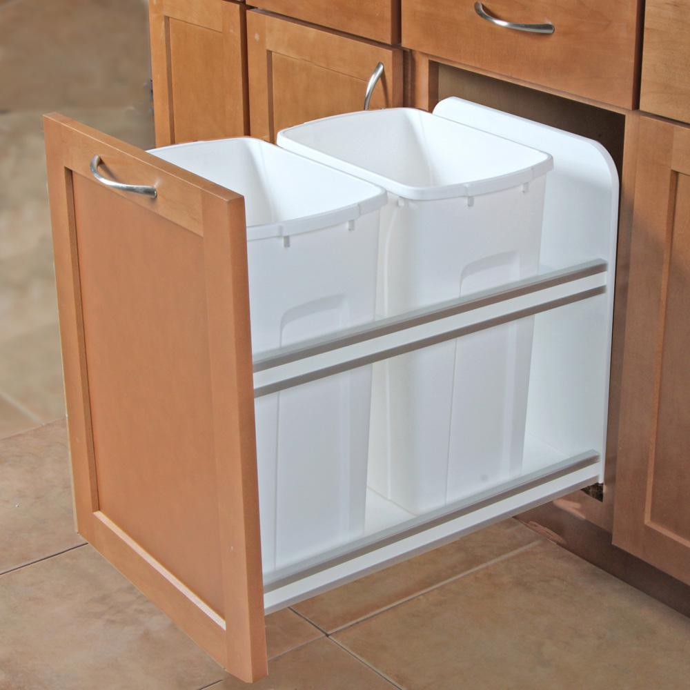 Knape & Vogt 18 in. H x 15 in. W x 22 in. D Plastic In-Cabinet 35 Qt. Double Soft Close Pull-Out Trash Can in White