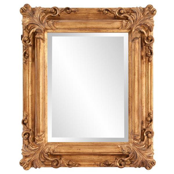23 in. x 19 in. Bright Gold Rectangle Wood Framed Mirror