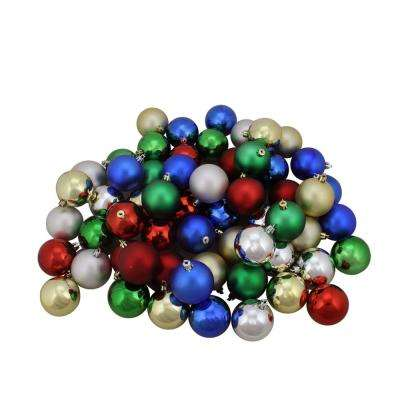 Traditional Multi-Color Shiny and Matte Shatterproof Christmas Ball Ornaments (96-Count)