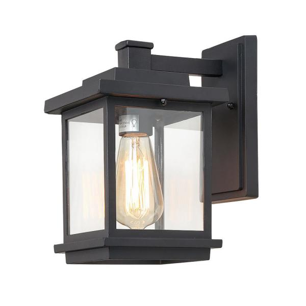 1-Light Black Metal Outdoor Wall Sconce with Clear Glass Shade