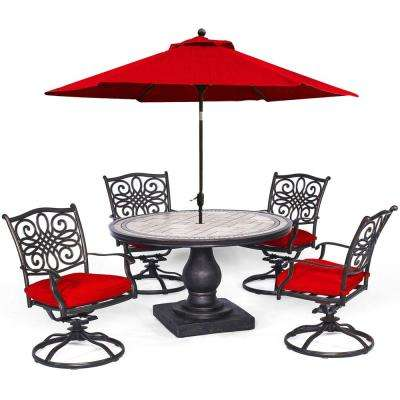 Monaco 5-Piece Aluminum Outdoor Dining Set with Red Cushions, 4 Dining Chairs, Tile-Top Table and an Umbrella