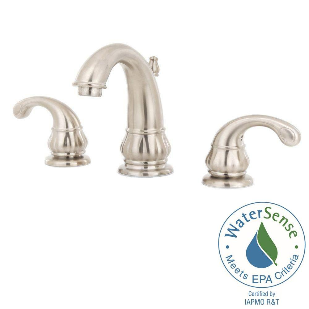 Pfister treviso 8 in widespread 2 handle bathroom faucet for 8 bathroom faucet in brushed nickel