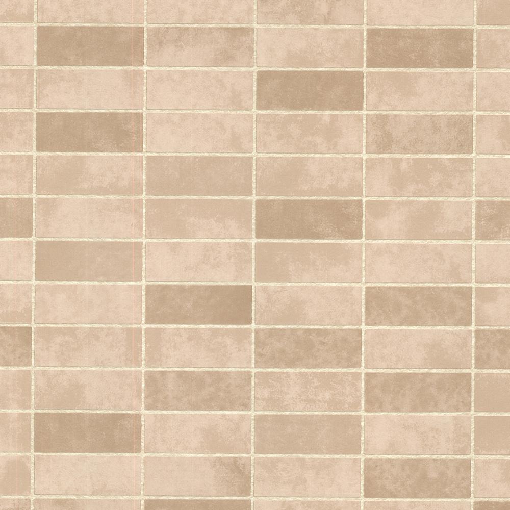 Hunter Sand Rectangle Tile Vinyl Peelable Roll (Covers 56.4 sq. ft.)