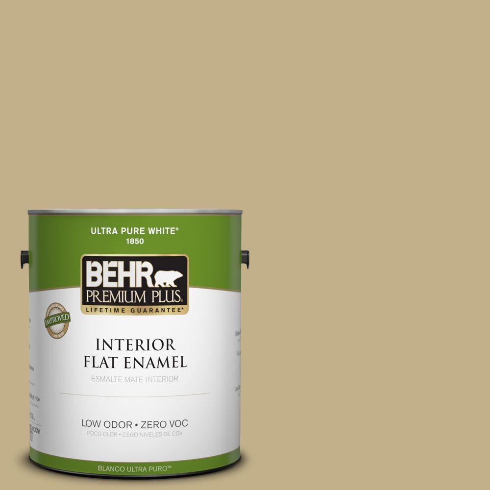 BEHR Premium Plus 1-gal. #380F-5 Harmonic Tan Zero VOC Flat Enamel Interior Paint-DISCONTINUED