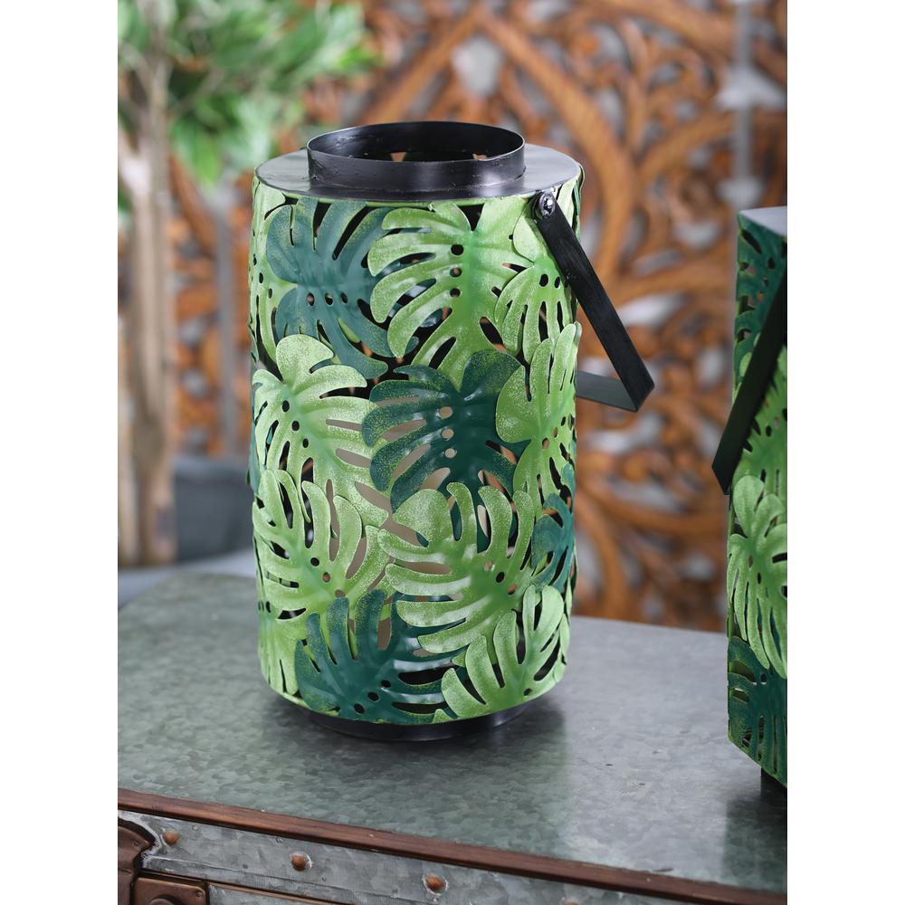 Green Pierced Leaf Design Cylindrical Candle Lantern