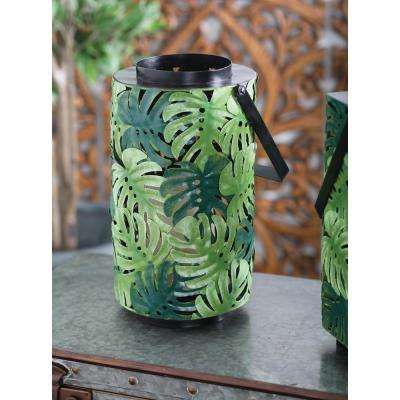 Green Pierced Leaf Design Cylindrical Candle Lantern
