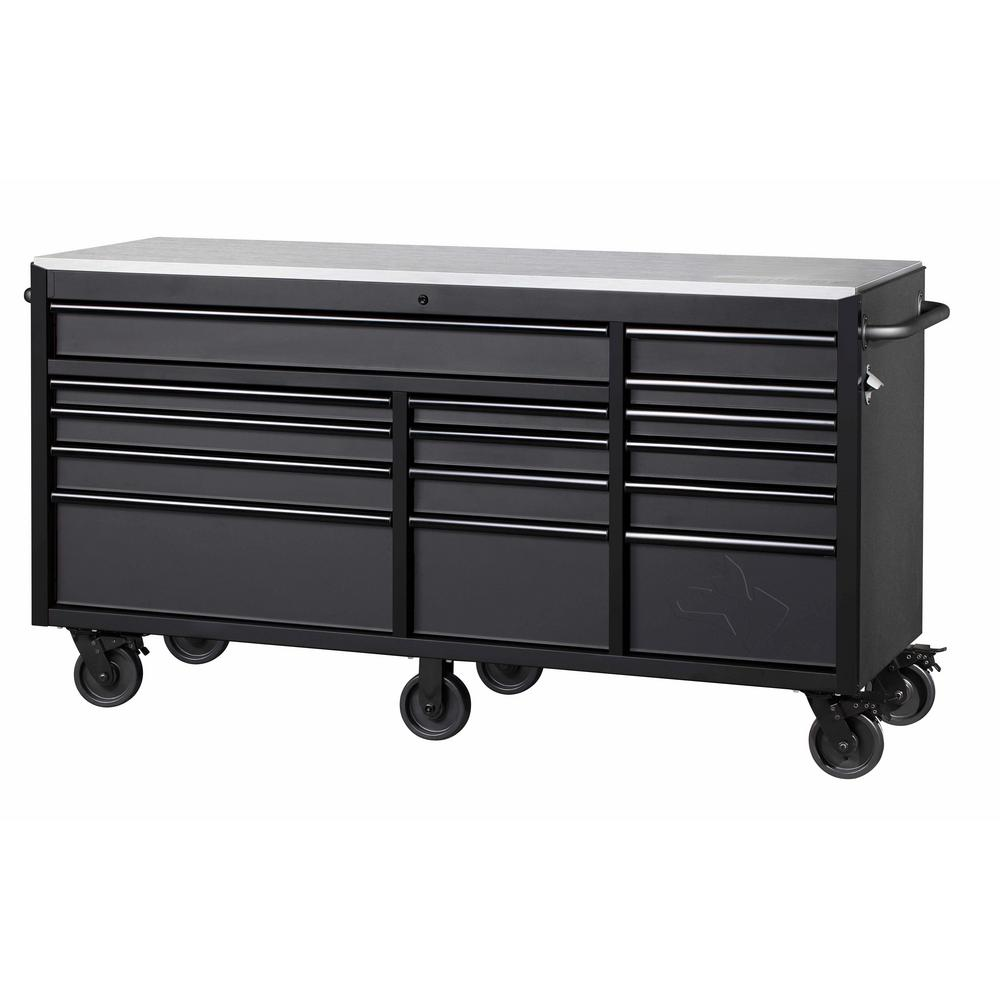 Husky 72 In W X 24 In D 15 Drawer Mobile Workbench With Stainless