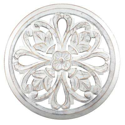 Tino White Round Wooden Medallion Wall Art