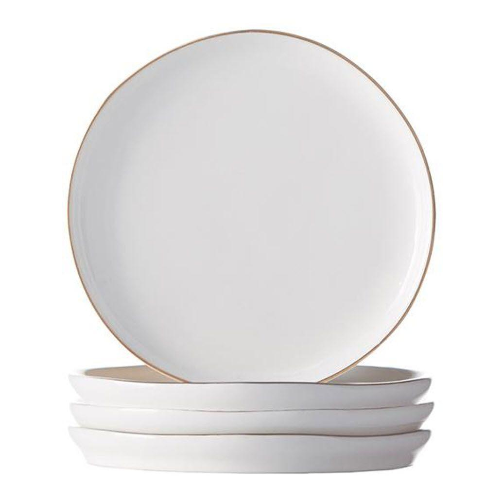 Home Decorators Collection Abbesses Decorative Saucer Plate in White with Gold Rim (Set of 4)