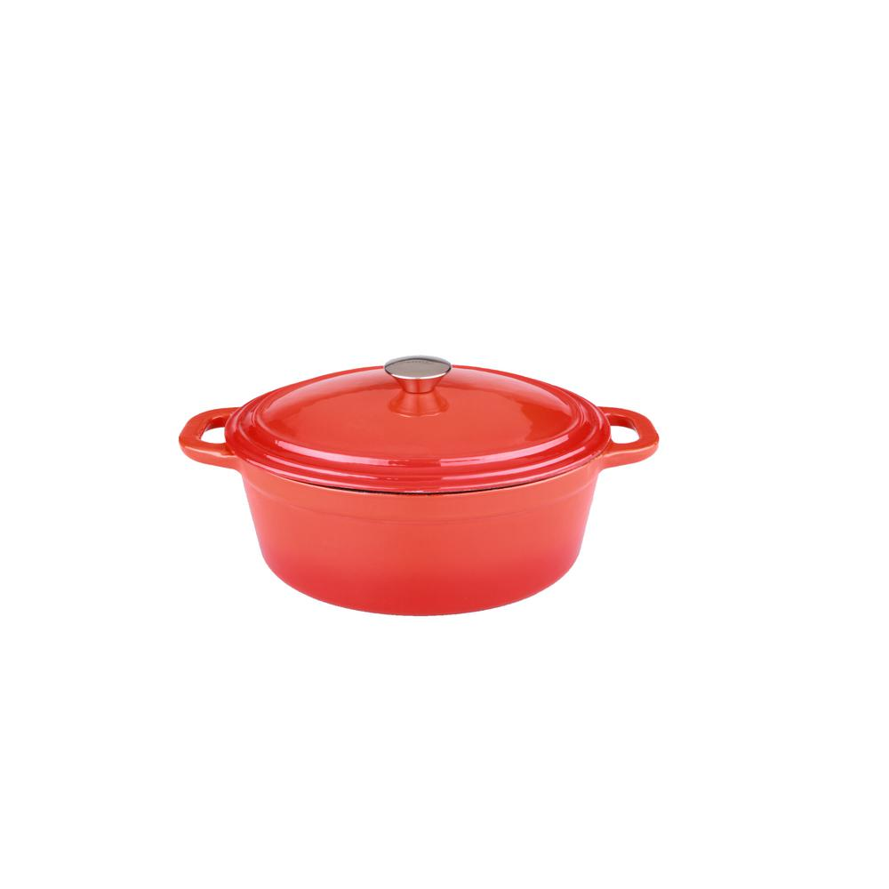Neo 8 Qt. Oval Cast Iron Orange Casserole Dish with Lid