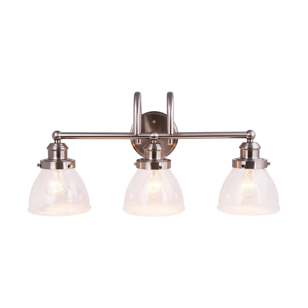 Hampton bay 3 light brushed nickel vanity light with clear seeded glass shades
