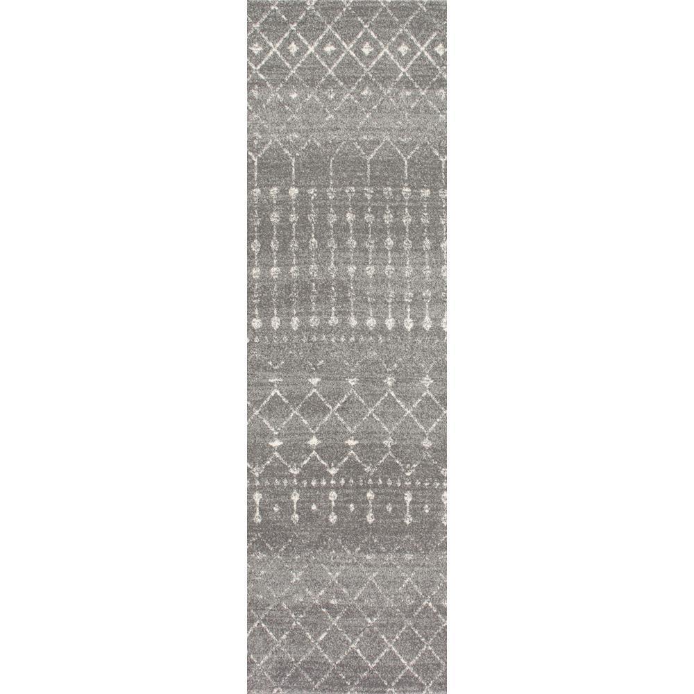 Blythe Modern Moroccan Trellis Dark Gray 3 ft. x 14 ft. Runner