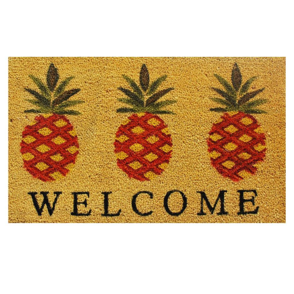 Pineapple Welcome Door Mat 17 in. x 29 in.