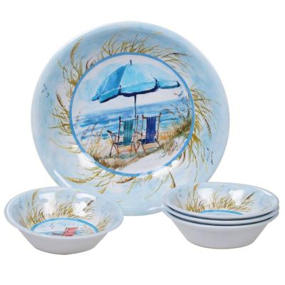 Ocean View 5-Piece Coastal Multi-colored Melamine Outdoor Dinnerware Set (Service for 5)