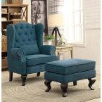 undefined Willow Traditional Style Accent Chair in Dark Teal Finish