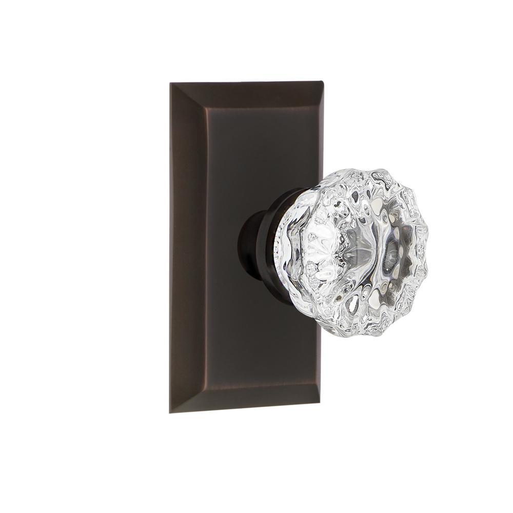 Studio Plate Double Dummy Crystal Glass Door Knob in Timeless Bronze