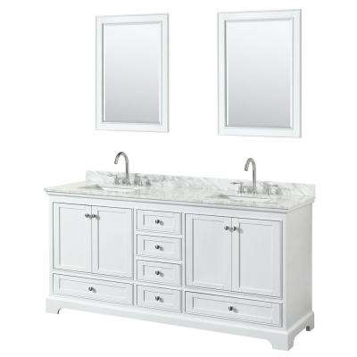 72 in. W x 22 in. D Vanity in White with Marble Vanity Top in Carrara White with White Basins and 24 in. Mirrors