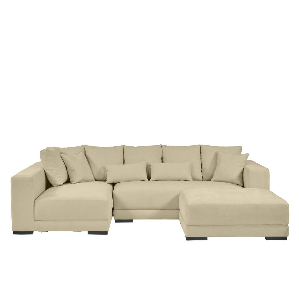 handy living harmony sectional with ottoman in creamy tan hrm sec