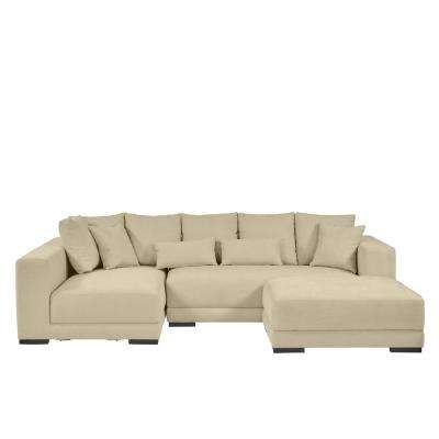 Harmony Sectional with Ottoman in Creamy Tan