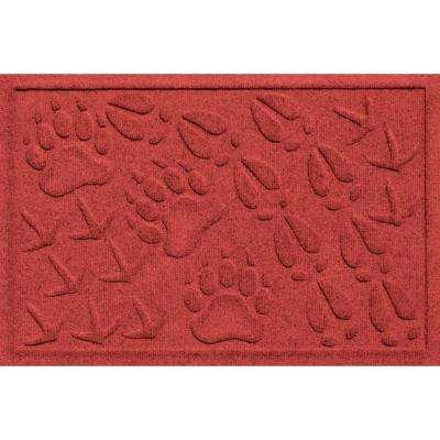 Aqua Shield Animal Tracks Red 17.5 in. x 26.5 in. Pet Mat
