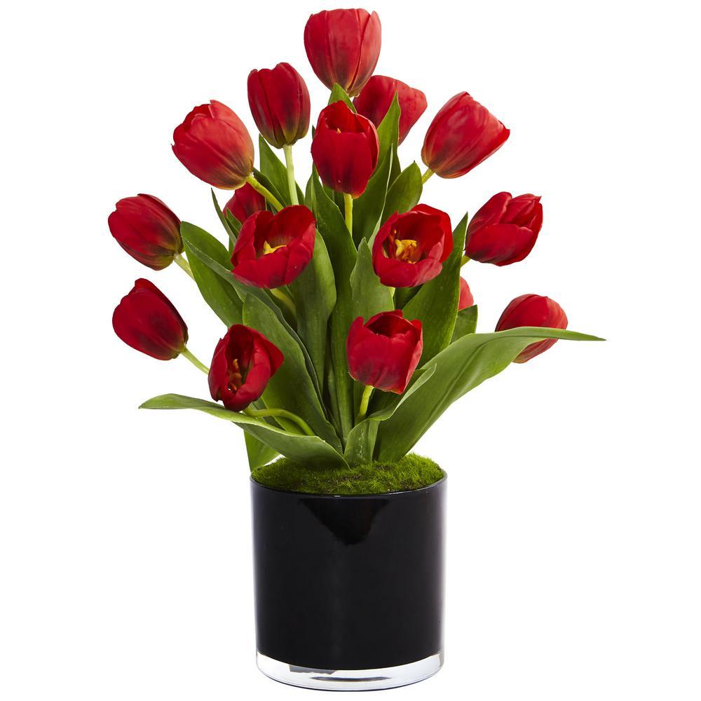 Indoor Tulips Silk Arrangement in Black Glossy Cylinder Vase