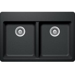 Elkay Elkay By Schock Drop In/Undermount Quartz Composite 33 In. Double  Bowl Kitchen Sink In Charcoal HDDBD33220QCH   The Home Depot