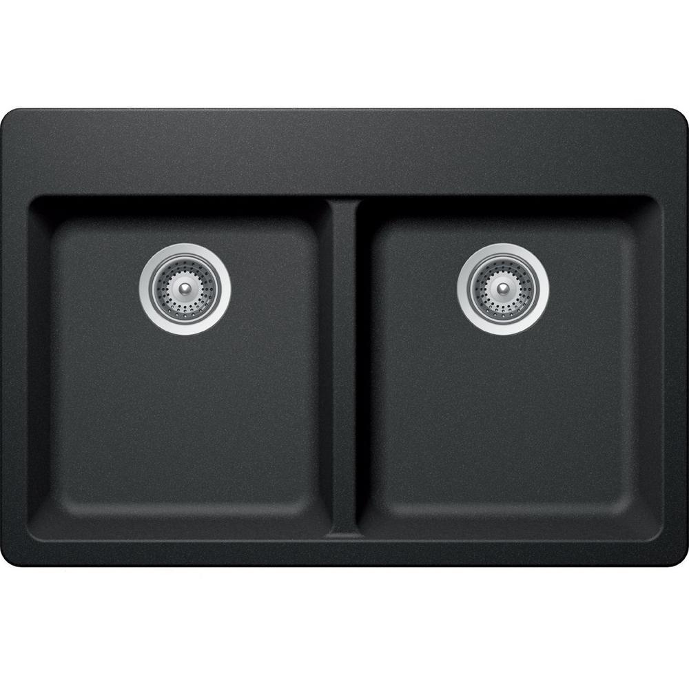 Elkay by Schock Drop-In/Undermount Quartz Composite 33 in. 50/50 Double Bowl Kitchen Sink in Charcoal