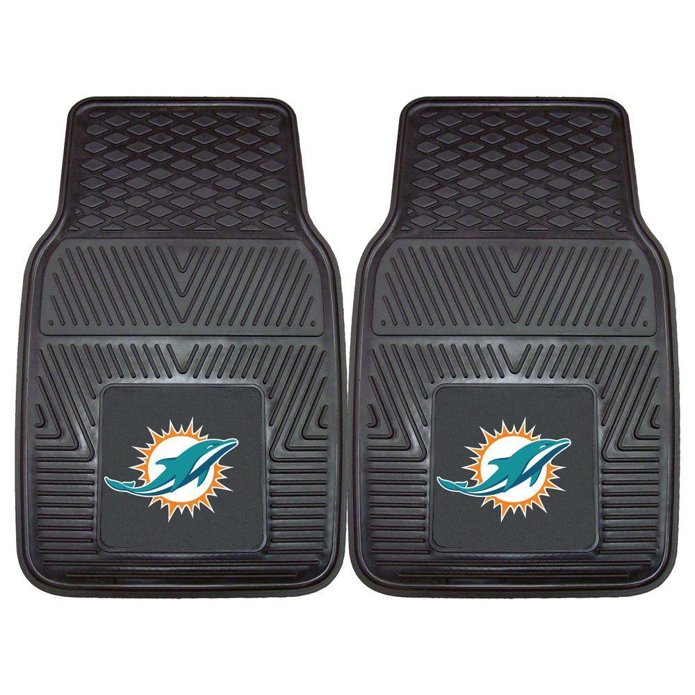FANMATS Miami Dolphins 18 in. x 27 in. 2-Piece Heavy Duty Vinyl Car Mat
