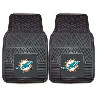 Miami Dolphins 18 in. x 27 in. 2-Piece Heavy Duty Vinyl Car Mat